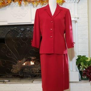Beautiful Le Suit Red 2 Piece Skirt Suit 12 EUC